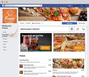 Restaurant und Lieferdienst bestellungen über Facebook